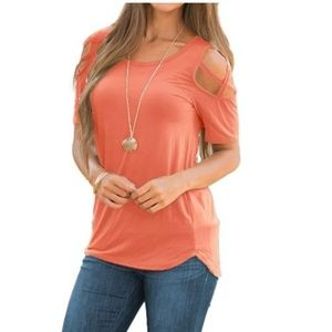 Tops - Womens Loose Strappy Cold Shoulder Tops